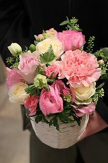 春のお花アレンジメント ピンク系 S