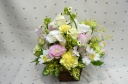 「パステルカラーのお供え花」