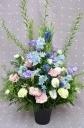 「ブルーパープル系のお供え花」