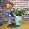 キュートブリキ人形付観葉鉢