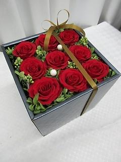 プリザーブドフラワー*赤いバラ/ブラックボックスP15
