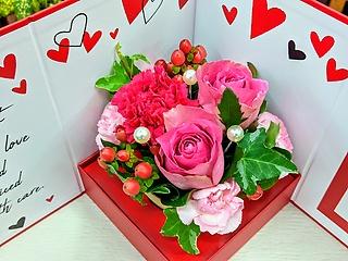 飾れるBOX ピンクアレンジメント☆ (レッド)