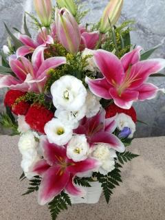 ピンク・レッド・ホワイトのお祝いアレンジメント