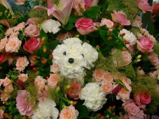プードルのスタンド花