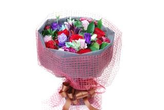 パープル系のブーケ風花束