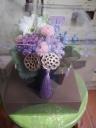 お供えプリザ蓮の実紫タッセル