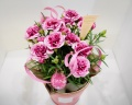 ピンク複色のカーネーション5寸鉢カバー付き