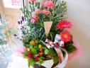 ピンクのカーネーションの4鉢セット(ラベンダ―入)