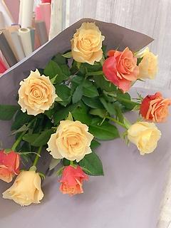 ご自宅用バラの花束黄色オレンジ系