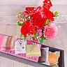 母の日のアレンジと和菓子のピンクボックスセット