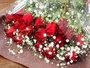 【赤バラとカスミソウの花束】